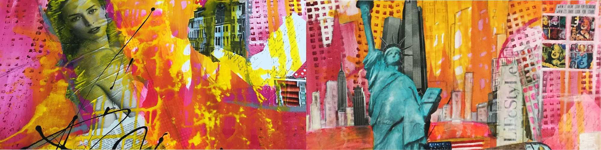 Kreativkurse - geführte Collage Ergebnis