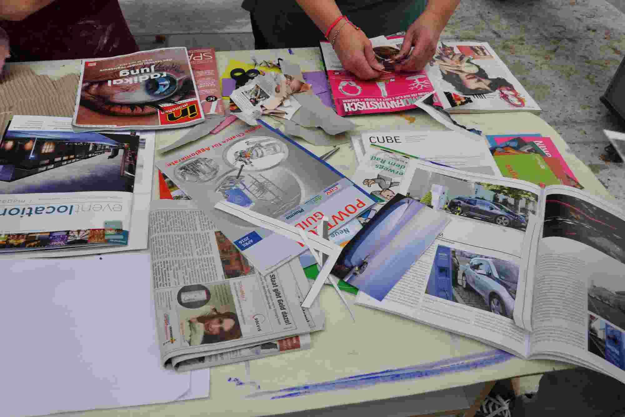 Magazine und Zeitschriften liefern Collagenmaterial
